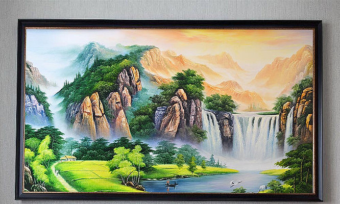 手绘刀画山水聚水生财艺术壁画