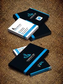 蓝色商务大气简单创意名片设计
