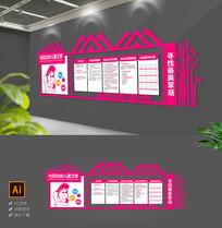 大气粉色屋檐妇联社区工作展板文化墙