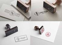 四个logo印章样机