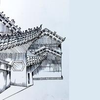 原创手绘古建筑