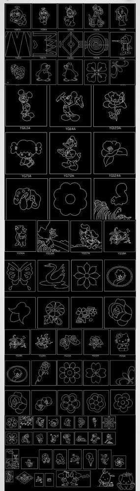 CAD动物图案植物花纹雕刻图案