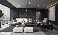 现代轻奢黑白灰客厅