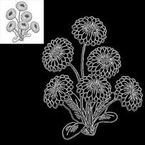 小雏菊鲜花花朵植物CAD素材线稿