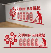 中国风红色校园食堂餐厅文化墙