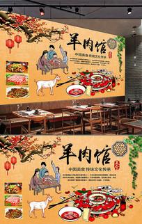 中国风羊肉馆餐饮背景墙