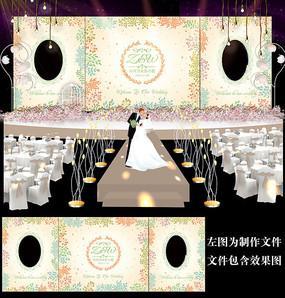 小清新田园风婚礼背景板设计