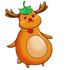 原创元素圣诞节驯鹿卡通插画