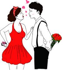 原创元素手绘浪漫情侣相约七夕情人节插画