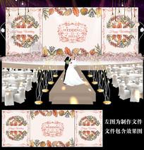橘黄婚礼背景设计