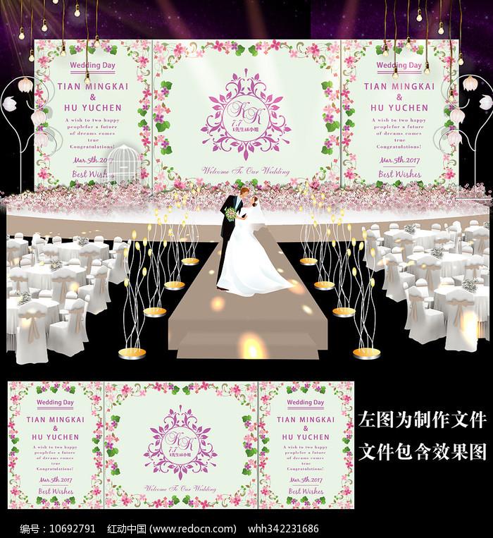 小清新花卉婚礼迎宾背景设计图片