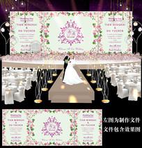 小清新花卉婚礼迎宾背景设计