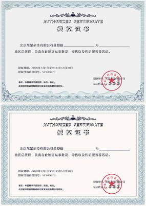 精美花纹边框授权证书PSD模板