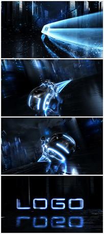 炫酷摩托带动logo科技版视频模板