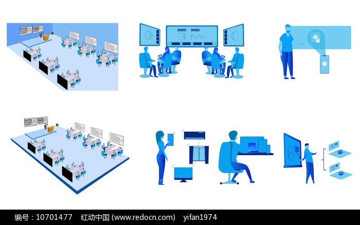 智慧教室场景矢量图图片