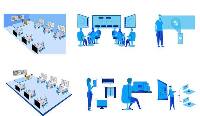 智慧教室场景矢量图