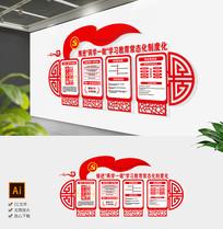 红色中式两学一做党支部社区文化墙