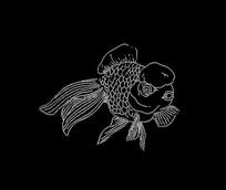 水生动物金鱼雕刻图案CAD线稿素材
