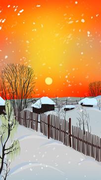 手绘冬日傍晚太阳西下雪景篱笆房子背景插画