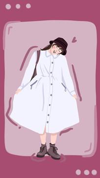 手绘可爱女生背景插画