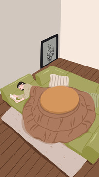 手绘躺在沙发上看书的女孩背景插画