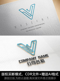V字母logo标志V商标