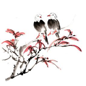 枫树上的两只小鸟插画