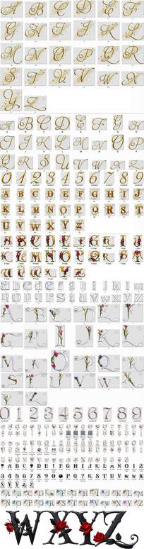 金色钻石金属花朵花纹免抠26个英文字母