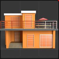 卡通两层别墅房子