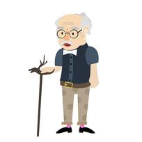 中老年人手绘卡通人物元素