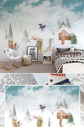 北欧现代森林雪景卡通动物儿童房背景墙壁纸