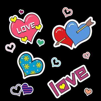 卡通爱心红心装饰贴纸贴图元素