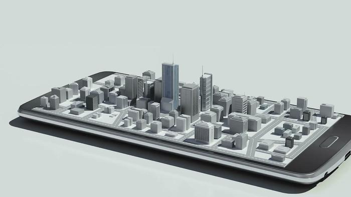 手机展示城市建筑模型视频素材