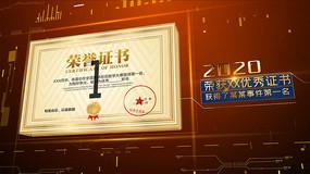 大气金字荣誉证书展示AE模板