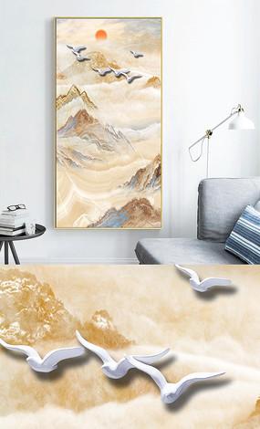 新中式轻奢抽象大理石山水玄关装饰画