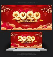 喜庆2020鼠年春节宣传海报