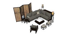 布艺新中式组合沙发SU模型