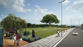 公园景观透视效果图PSD