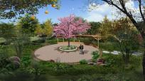 公园圆形小平台效果图PSD