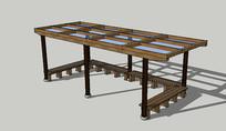 现代景观木结构廊架