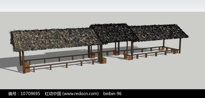 组合茅草长廊模型图片
