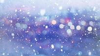 彩色模糊灯光雪花飘落视频素材