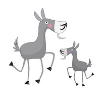 灰色手绘卡通可爱驴子元素