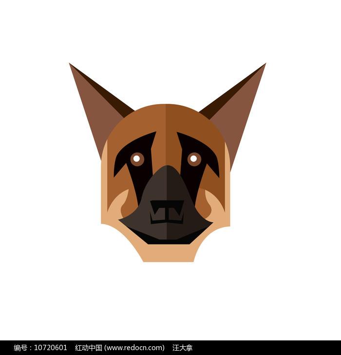 狼狗装饰手绘狗头元素