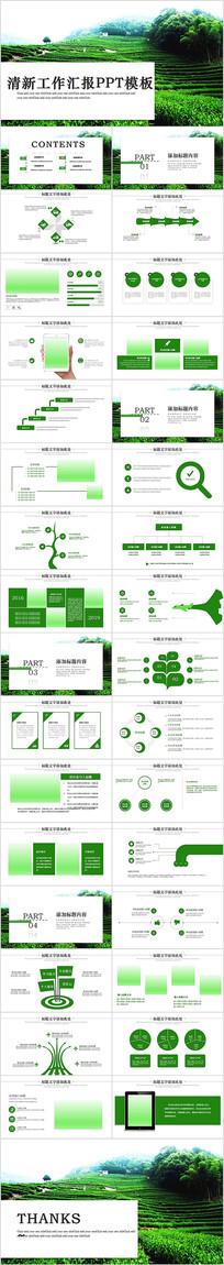 绿色清新茶园茶艺茶道文化动态PPT-