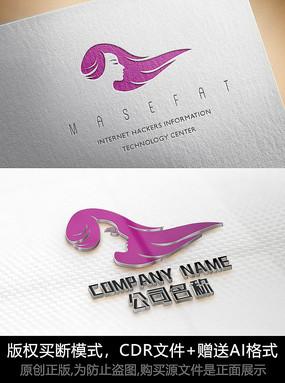 唯美女人logo标志女性商标