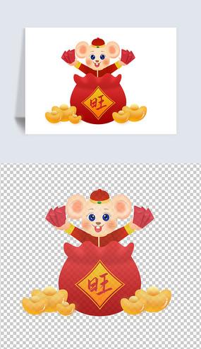 原创手绘福袋老鼠吉祥物插画