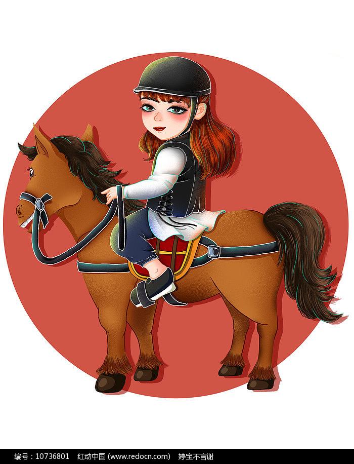 原创手绘卡通骑马人物插画图片