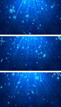圣诞蓝色雪花飘落背景视频素材