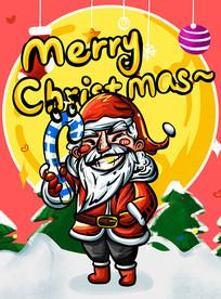 手绘圣诞老人圣诞节快乐海报